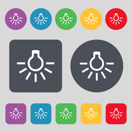 fluorescent lights: light bulb icon sign. A set of 12 colored buttons. Flat design. illustration Stock Photo