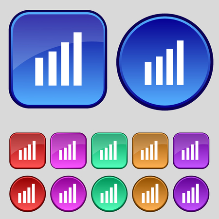 wireless signal: Mobile signal sign. Wi-fi symbol. Wireless Network icon. Wifi zone. Set of colour buttons. illustration