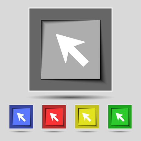 cursor arrow: Cursor, arrow icon sign on the original five colored buttons. illustration