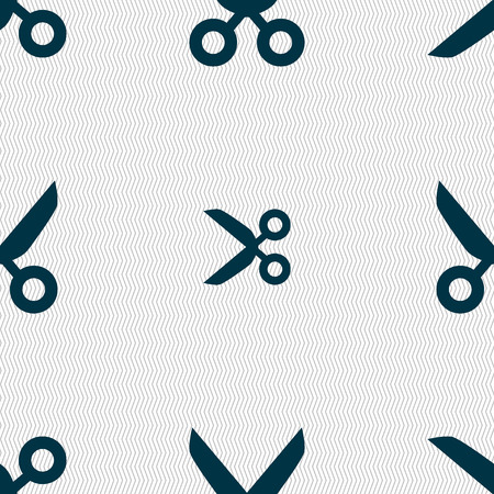 disclosed: Scissors hairdresser sign icon. Tailor symbol. Seamless abstract background with geometric shapes. illustration