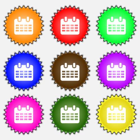 reminder icon: Calendar, Date or event reminder  icon sign. A set of nine different colored labels. illustration