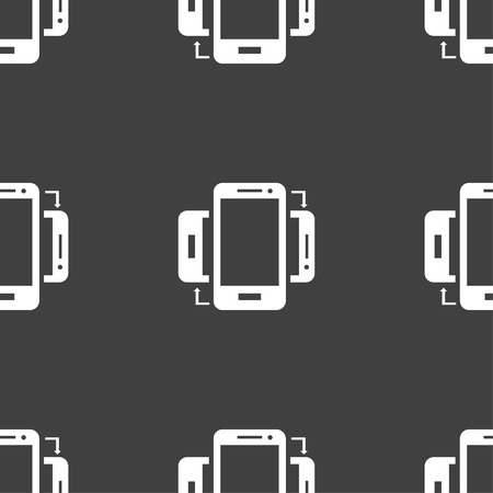 data synchronization: Synchronization sign icon. smartphones sync symbol. Data exchange. Seamless pattern on a gray background. illustration Stock Photo
