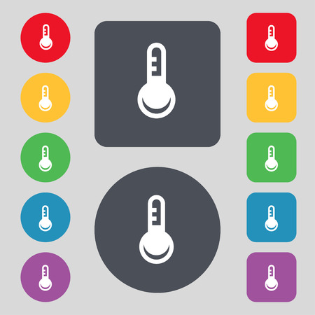 hotness: Thermometer, Temperature icon sign. A set of 12 colored buttons. Flat design. illustration