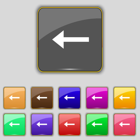 eleven: Arrow left, Way out icon sign. Set with eleven colored buttons for your site. illustration