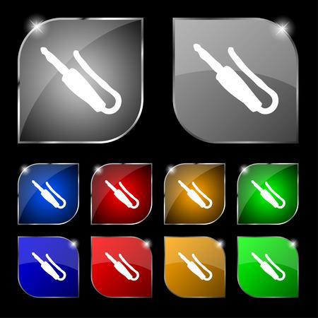 minijack: plug, mini jack icon sign. Set of ten colorful buttons with glare. illustration
