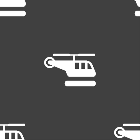 fuselage: helicopter icon sign. Seamless pattern on a gray background. illustration Stock Photo