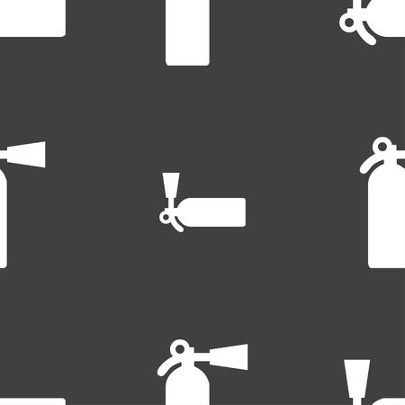 extinguisher icon sign. Seamless pattern on a gray background. illustration