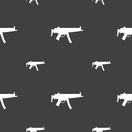 large group of objects: machine gun icon sign. Seamless pattern on a gray background. illustration