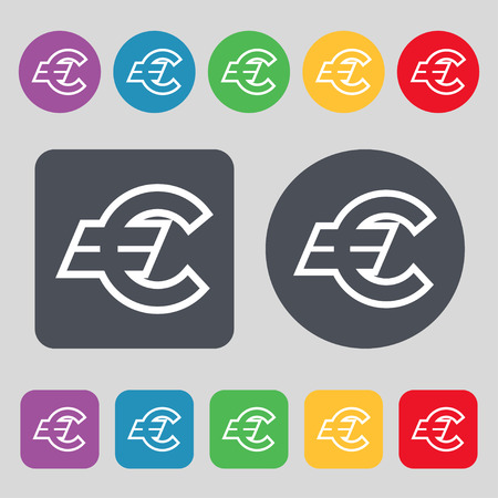 eur: Euro EUR icon sign. A set of 12 colored buttons. Flat design. illustration Stock Photo