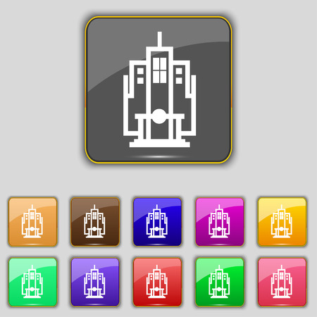headquarters: skyscraper icon sign. Set with eleven colored buttons for your site. illustration Stock Photo