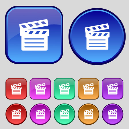 Cinema Clapper icon sign. A set of twelve vintage buttons for your design. illustration