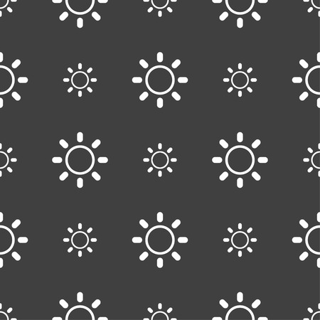 brightness: Brightness icon sign. Seamless pattern on a gray background. illustration