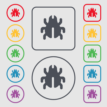 acarus: Software Bug, Virus, Disinfection, beetle icon sign. symbol on the Round and square buttons with frame. illustration