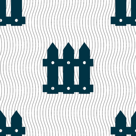 Fence icon sign. Seamless pattern with geometric texture. illustration