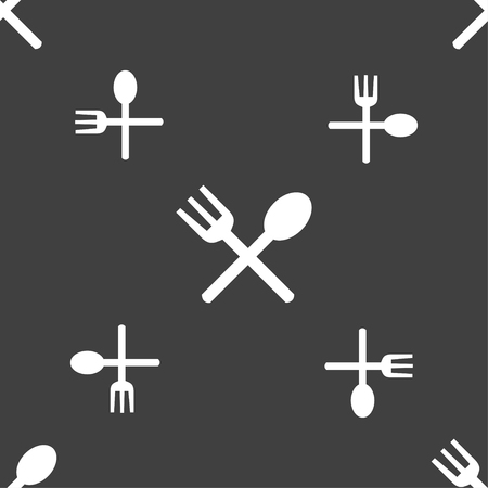 crosswise: Fork and spoon crosswise, Cutlery, Eat icon sign. Seamless pattern on a gray background. illustration