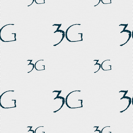 telecommunications technology: 3G sign icon. Mobile telecommunications technology symbol. Seamless pattern with geometric texture. illustration