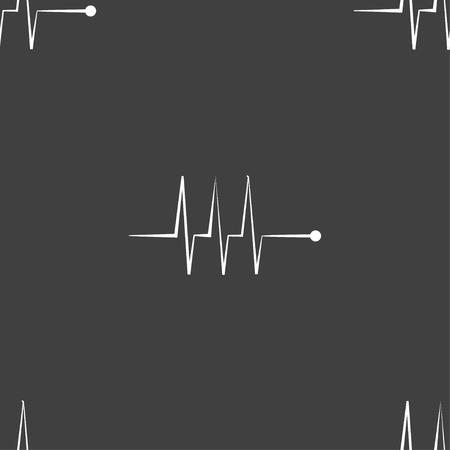 heart beats: Cardiogram monitoring sign icon. Heart beats symbol. Seamless pattern on a gray background. illustration