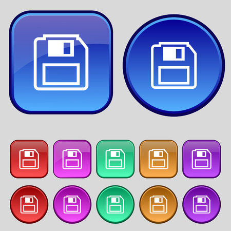 old pc: floppy disk icon sign. A set of twelve vintage buttons for your design. illustration