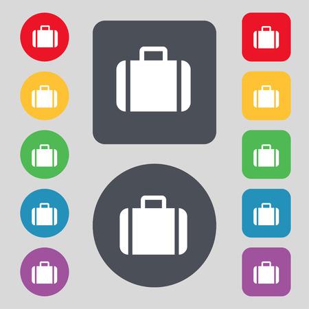 suit case: Suitcase icon sign. A set of 12 colored buttons. Flat design. illustration