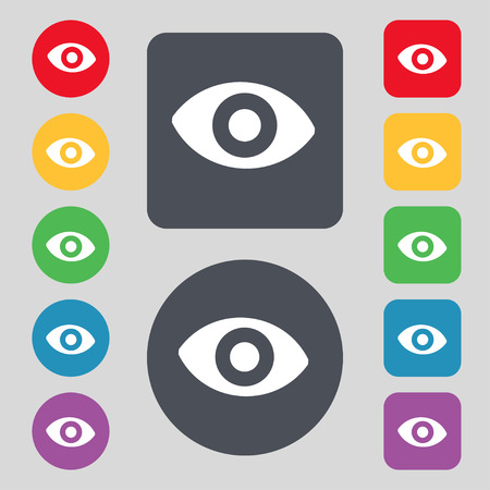 sense: sixth sense, the eye icon sign. A set of 12 colored buttons. Flat design. illustration