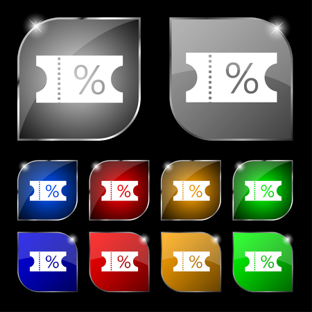 permission: ticket discount icon sign. Set of ten colorful buttons with glare. illustration
