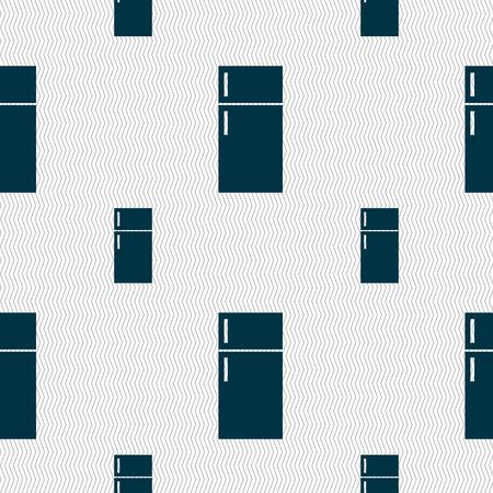 refrigerator: Refrigerator icon sign. Seamless pattern with geometric texture. illustration
