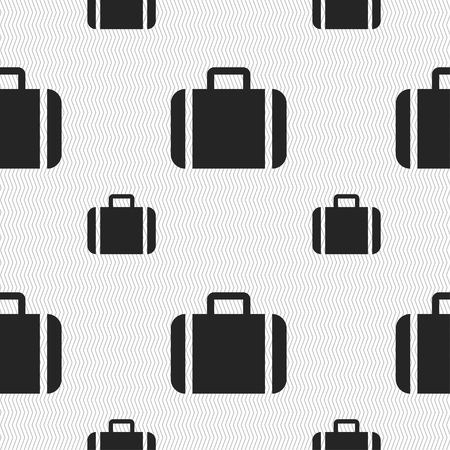 suit case: Suitcase icon sign. Seamless pattern with geometric texture. illustration Stock Photo