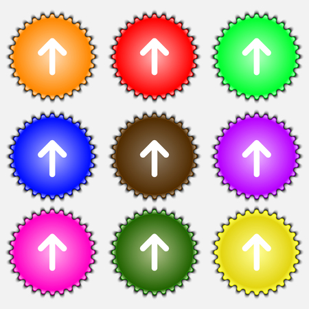 this side up: Arrow up, This side up icon sign. A set of nine different colored labels. illustration Stock Photo