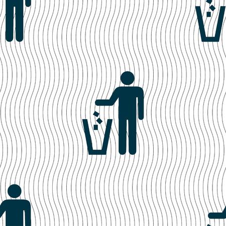 throw away: throw away the trash icon sign. Seamless pattern with geometric texture. illustration Stock Photo
