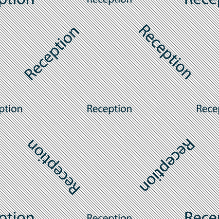 reception table: Reception sign icon. Hotel registration table symbol. Seamless pattern with geometric texture. illustration