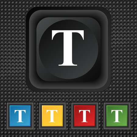 t document: Text edit icon sign. symbol Squared colourful buttons on black texture. illustration