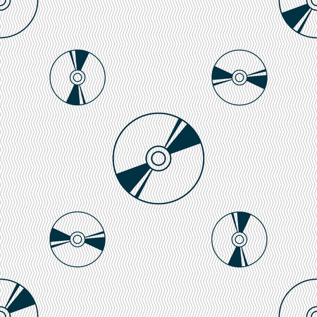 Cd, DVD, compact disk, blue ray icon sign. Seamless pattern with geometric texture. illustration Stock Photo