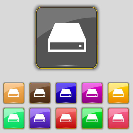 cdrom: CD-ROM icon sign. Set with eleven colored buttons for your site. illustration Stock Photo