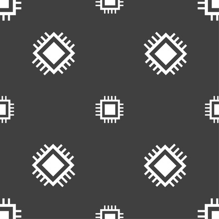 accelerator: Central Processing Unit Icon. Technology scheme circle symbol. Seamless pattern on a gray background. illustration