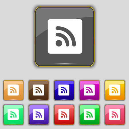 rss feed icon: RSS feed icon sign. Set with eleven colored buttons for your site. illustration