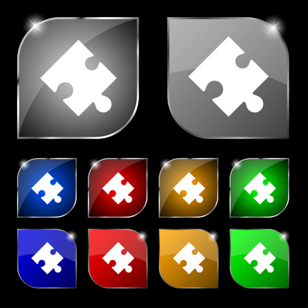 puzzle corners: Puzzle piece icon sign. Set of ten colorful buttons with glare. illustration