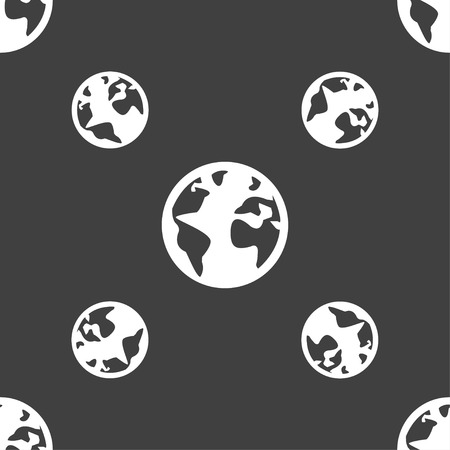 geography background: Globe sign icon. World map geography symbol. Globes on stand for studying. Seamless pattern on a gray background. illustration Stock Photo