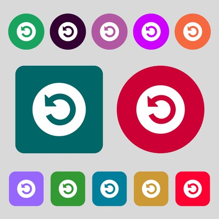 groupware: Upgrade, arrow icon sign.12 colored buttons. Flat design. illustration