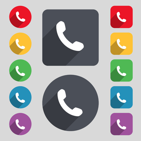 Phone, Support, Call center icon sign. A set of 12 colored buttons and a long shadow. Flat design. illustration