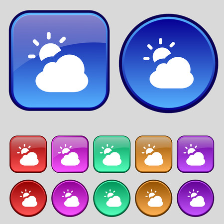 widget: weather icon sign. A set of twelve vintage buttons for your design. illustration Stock Photo