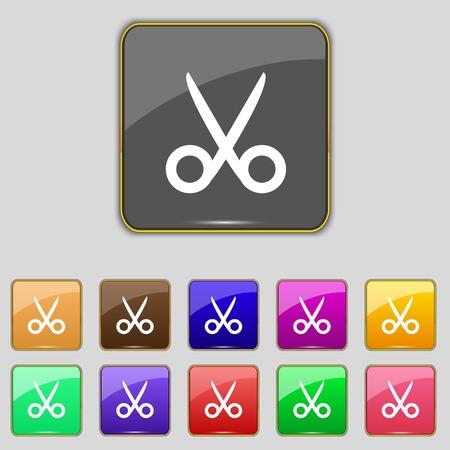 snip: Scissors hairdresser sign icon. Tailor symbol. Set of colored buttons. illustration