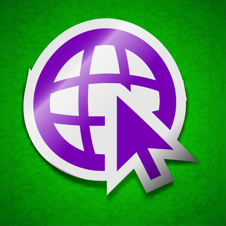 world wide: World wide web icon sign. Symbol chic colored sticky label on green background. illustration