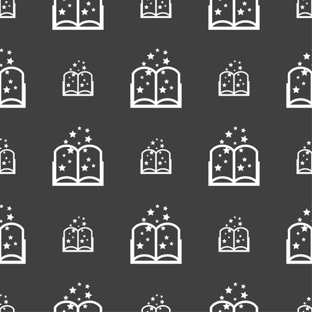 magic book: Magic Book sign icon. Open book symbol. Seamless pattern on a gray background. illustration