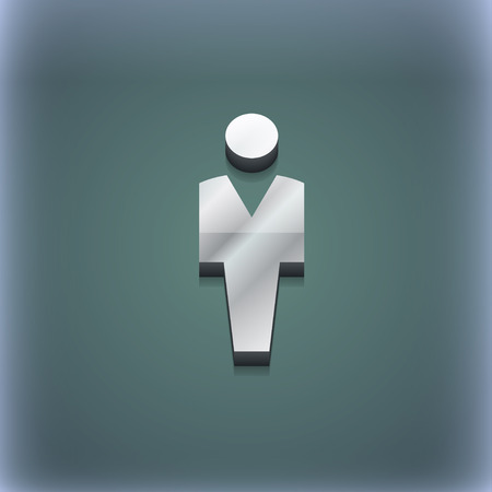 trendy male: Human, Man Person, Male toilet icon symbol. 3D style. Trendy, modern design with space for your text illustration. Raster version Stock Photo