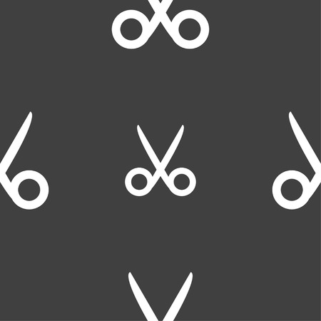disclosed: Scissors hairdresser sign icon. Tailor symbol. Seamless pattern on a gray background. illustration