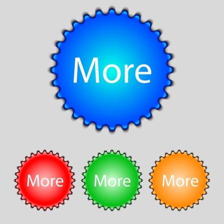 details: More sign icon. Details symbol. Website navigation. Set of colored buttons. illustration