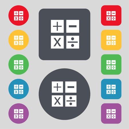 multiplication: Multiplication, division, plus, minus icon Math symbol Mathematics Set of colour buttons illustration