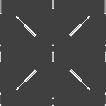 sig: Screwdriver tool sign icon. Fix it symbol. Repair sig. Seamless pattern on a gray background. illustration Stock Photo