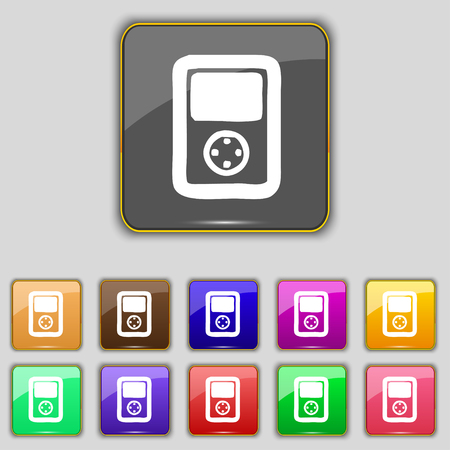 tetris: Tetris, video game console icon sign. Set with eleven colored buttons for your site. illustration