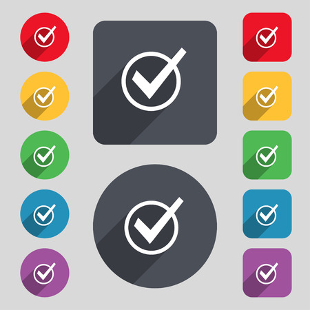 verify: Check mark, tik icon sign. A set of 12 colored buttons and a long shadow. Flat design. illustration